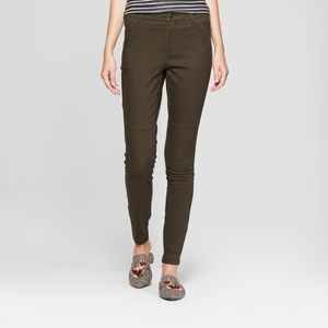 High Rise Stretch Skinny Utility Chino Pants Olive